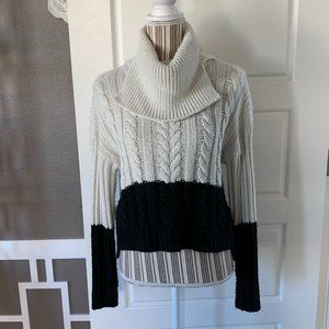 BP. Colorblock Cowl Neck Asymmetrical Sweater